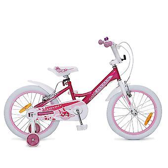 Byox bicicleta para niños 18 pulgadas encantador, ruedas de apoyo, campana, reflectores, a partir de 5 años