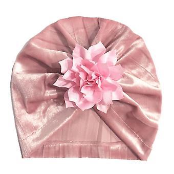 New Gold Velvet Turban Hat For Baby Beanie Stylish Top Caps, Birthday Party
