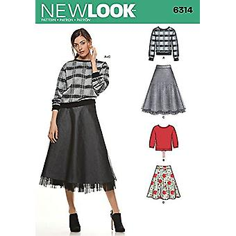 New Look Sewing Pattern 6314 Misses Skirt Knit Tops Size A 8 - 20