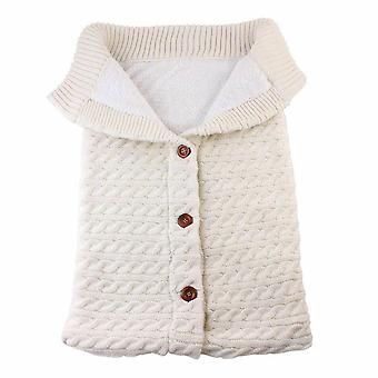 Newborn Baby Warm Sleeping Bags, Winter Infant Button Knit Swaddle Wrap,