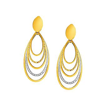 14k Two Tone Gold Two Toned Post Earrings with Graduated Ovals