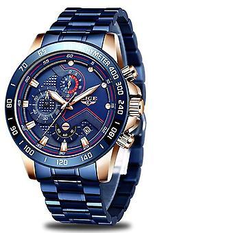 Luxury Brand Blue Stainless Wrist Watch