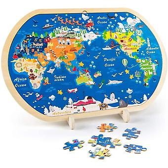 FengChun 44-teilige Holzpuzzles fr Kinder, Weltkarte Puzzle fr Kinder Pdagogisches Montessori