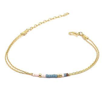 Benava, women's friendship bracelet, minimalist, multiwire with Seed Bead Gold glass beads 15-19 cm, adjustable Ref. 4744999040468