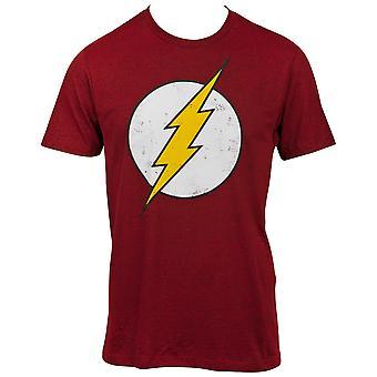 Flash Distressed Symbol On Dark Red T-Shirt