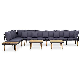 vidaXL 7 pezzi. Set lounge da giardino con cuscinetti in legno massello acacia