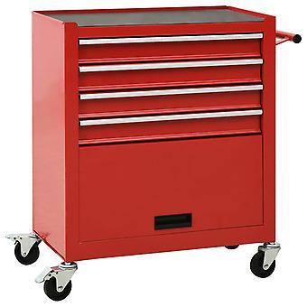 vidaXL chariot à outils avec 4 tiroirs en acier rouge