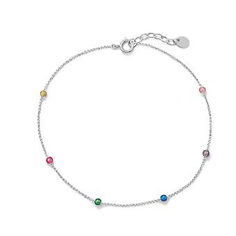 925 Sterling Silver 9.25 Inch + 1 Inch Muli Color Beaded Anklet 9.25+1 Inch Multi 3mm Plastic Beads Sp Jewelry Gifts for