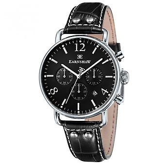 Thomas Earnshaw Es-8001-03investigator Silver & Black Textured Leather Mens Chronograph Watch