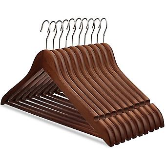 Pack Of 10 Solid Wood Hangers With Grooves Vintage Hangers