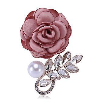 Delicate Ladies Brooch Rose Corsage Diamond Cloth Pearl Brooch Pin