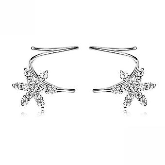 Ear Studs Spring Snowflake S925 Platinum Plated Ear Clips Earrings For Ceremony