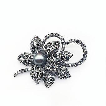 Eleganckie panie broszka czarny łuk korsawid pełny diament szalik klip broszka pin