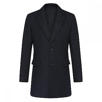 Silktaa Men's Mid-length Single-breasted Slim-fit Casual Wool-blend Trench Coat