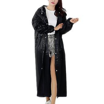 أسود أزياء الكبار للماء معطف المطر الطويل النساء الرجال معطف المطر مقنعين للسفر المشي لمسافات طويلة في الهواء الطلق