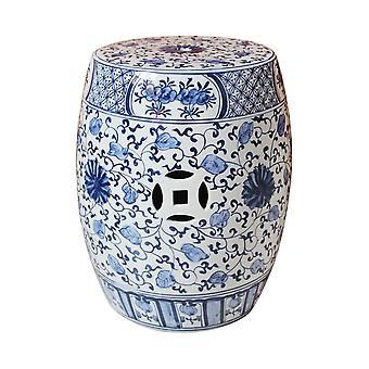 Fin AsiatiskLiving Keramisk Hage Krakk Blå Hvit Kinesisk Lotus Håndmalt D33xH45cm