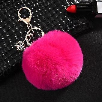 Fluffy and soft nordic style rabbit pompom trinket keychains(Rose)