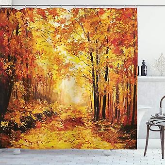 Rustic Shower Curtain, Autumn In The Relaxing Forest, Fabric Bathroom Decoration Set With Hooks, Brown 120x180cm