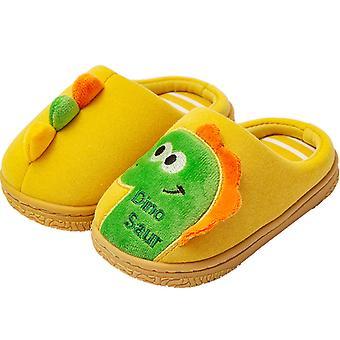 בנים בנות חמוד נעלי בית חורף חם דינוזאור חידוש נעלי בית לילדים פעוטות
