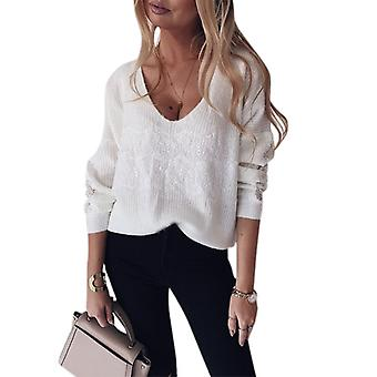 Dentelle Pull Tricoté Femmes Manches Longues Col V Pull Pull Pull Baggy Top