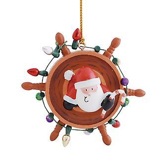 Santa Decorating Ships Wheel Nautical Christmas Holiday Ornament Resin
