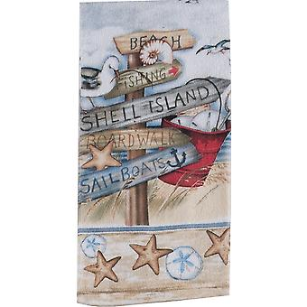 Beach Signs Shell Island Boardwalk 26 Inch Printed Kitchen Terry Towel