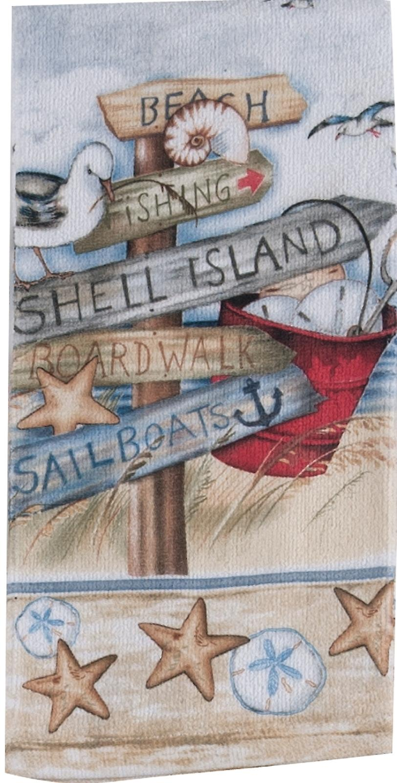 Beach Signs Shell Island Boardwalk 26 Inch Printed Kitchen Terry Towel