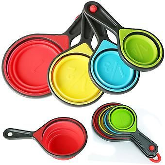 TRIXES 4 Collapsible Silicone Measuring Cups Spoons