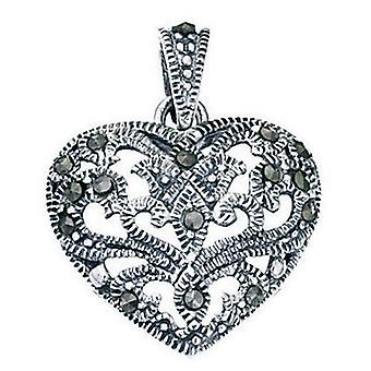 925 Silver Heart Marcasite Necklace