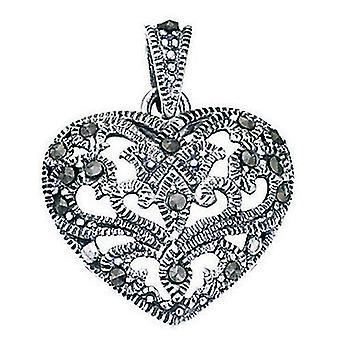 925 hopea sydän Marcasite kaulakoru