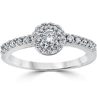 1ct Halo diamant förlovningsring 14K vitguld