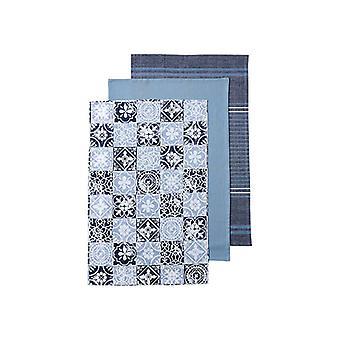 Ladelle Blue Moroccan Tile Tea Towels, Set of 3