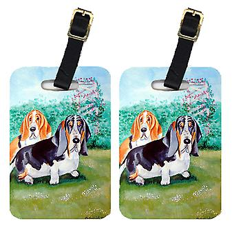 Carolines Treasures  7061BT Pair of 2 Basset Hound Double Trouble Luggage Tags