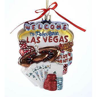 Kurt Adler Welcome to Las Vegas Nevada Cityscape Glass Ornament