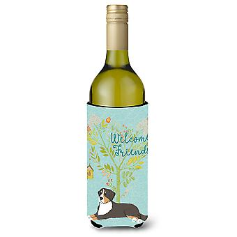 Welcome Friends Bernese Mountain Dog Wine Bottle Beverge Insulator Hugger
