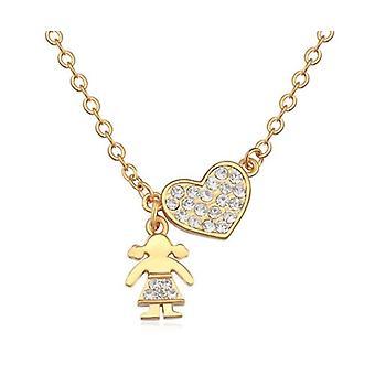 Damer guld hjerte vedhæng halskæde pige og hjerte vedhæng