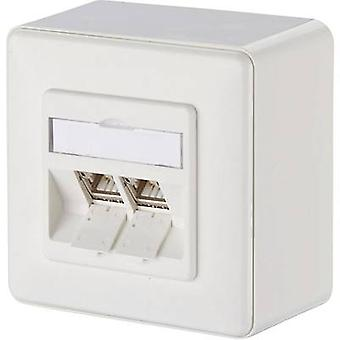 Metz Connect Network outlet Surface-mount CAT 6A 2 ports Pure white