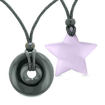 Suuri donitsi supertähti Amulet rakkaus pari tai parhaat ystävät akaatti violetti Cats Eye kaulakorut