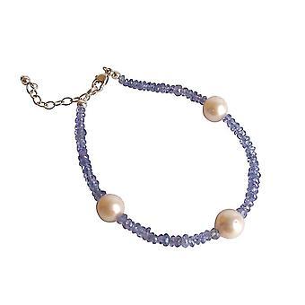 Gemshine - damer - Armband - guld pläterad - tanzanite - blå - lila - Pearl - White