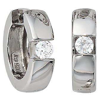 Brincos 925-s zirconia cúbico Klappkreolen prata 925 Sterling prata brincos de argola