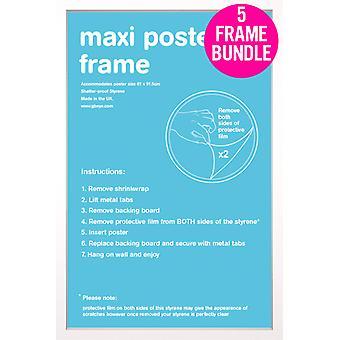 GB julisteita 5 valkoinen Maxi juliste kehyksiä 61x91.5cm nippu
