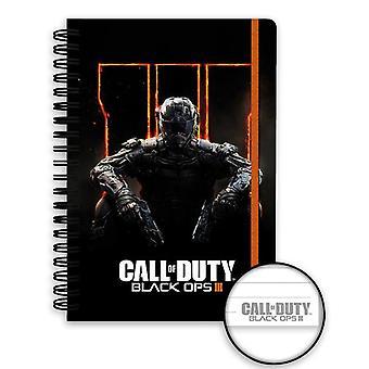 Roep van de plicht Black OPS 3 notebook DIN A5 cover hardcover met spiraalbinding, bekleed met rubberen band.
