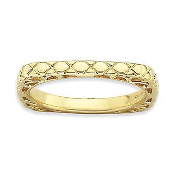 2.25mm 925 Sterling Silver Mönstrade stapelbara uttryck polerad 14k Gold PlatedSquare Ring Smycken Gåvor för kvinnor -