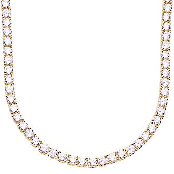 Premium bling - Sterling 925 Silver CZ necklace 4mm gold