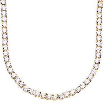 Premium bling - CZ de plata esterlina 925 collar 4mm dorado