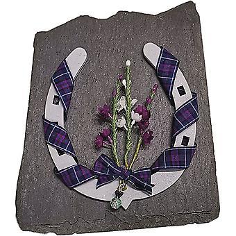 Grey Horse Shoe Scottish Keepsake on Slate by Sweet Pea Designs