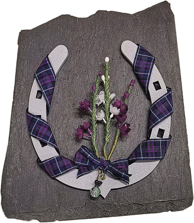Sweet Pea Designs Grey Horse Shoe Scottish Keepsake on Slate