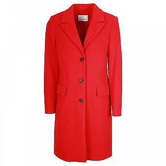 Oui Cashmere & Wolle Mischung langen roten Mantel