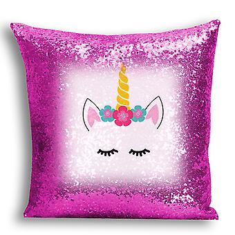 i-Tronixs - Unicorn Printed Design Pink Sequin Cushion / Pillow Cover for Home Decor - 0