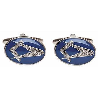 Дэвид ван Хаген масонской запонки - голубой/серебро